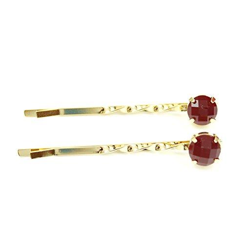 rougecaramel - Accessoires cheveux - Mini pince fantaisie métal doré 2pcs - rouge