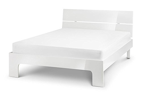 Happy Beds Manhattan Bed High Gloss White Wood Frame 4'6'' Double 135 x 190 cm