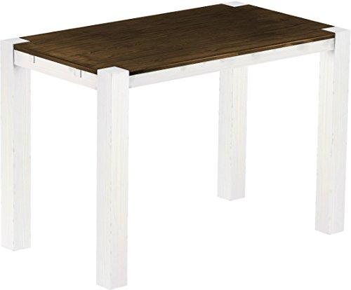 Brasil Meubles Haut Table 'Rio Kanto' 160 x 90 x 109 cm, Pin Parasol Bonito Bois Massif, Teinte chêne Antique Blanc