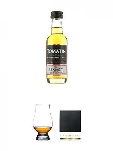 Legacy-schiefer (Tomatin Legacy Single Malt Whisky MINIATUR 5 cl + The Glencairn Glass Whisky Glas Stölzle 1 Stück + Schiefer Glasuntersetzer eckig ca. 9,5 cm Durchmesser)