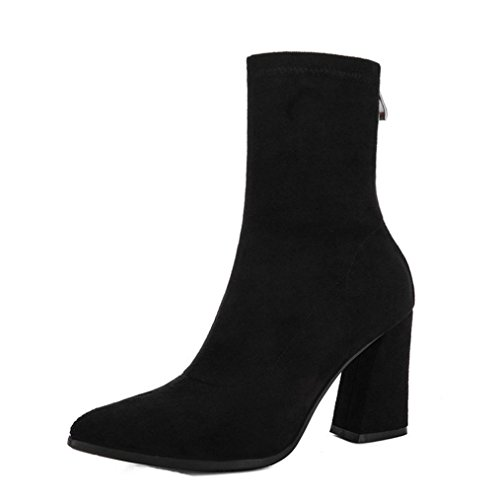 JIANGFU Frau Zeigte mit Hochhackigen Stiefeln Dick,Frauen Winter Zipper Spitz Zehenspitze High-Heel Stretchy Schwarz Stiefel Schuhe (36) (Schwarz-gewebe-heels)