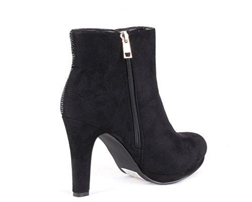 Modische Damen Schuhe gefütterte Ankle Boots High Heels Plateau Pumps Stiefel Stiefeletten Spitze mit Reißverschluss und Glitzer Strass Black