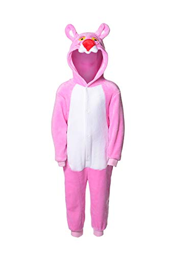 Mädchen Panther Kostüm Pink - Matt Viggo Schlafanzug Mädchen Jungen Unisex Pyjama Kinder Kapuze Tiere Kostüm Overall Hausanzug, Pink Panther, 100