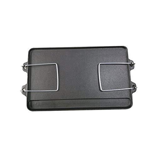 DBZDM Doppelseitige rechteckige Gusseisen-Grillplatte mit Griffen Nicht haftenden geriffelten und flachen Oberflächen und integrierter Auffangschale für Öfen und Grills