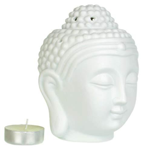 Piquaboo Lampe aromatique en forme de tête de Bouddha Grand format Weiß