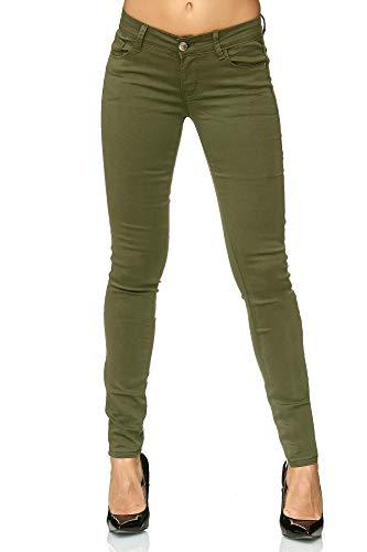 Elara Damen Stretch Hose Push Up Jeans Gummizug Chunkyrayan YT3342 Green 36 (S)