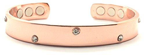 Stilvoll gemustertes Kupfer Magnetarmband - 99,9 % reinem Kupfer mit 6 sehr starken Magneten und Kristallen