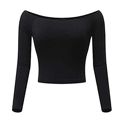 Sufeng Womens Off-Shoulder Slash Neck Solid Long Sleeve Top Fitted Shirt Navel Blouse
