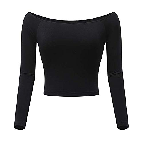 MYMYG Damen Crop Tops Off-Shoulder Slash Neck für Frauen Solides langärmliges Top ausgestattetes Hemd Navel-Bluse O-Ausschnitt Pullover Damenbluse Langarmshirt