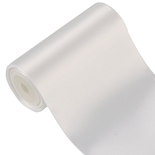 LaRibbons 4.5m x 100mm Breite Solid Color Double Face Satin-Band (Weiß) (Face Ribbon Satin Double)