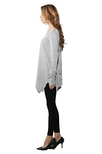 Minitoo Top à manches longues - Moderne/ajusté - Manches Longues - Femme gris clair