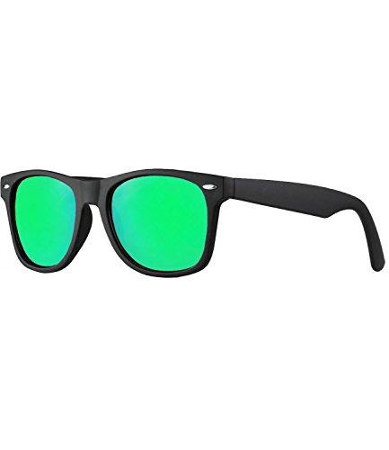 caripe Wayfarer Sonnenbrille verspiegelt - SP (Gestell matt schwarz - bluegreen verspiegelt)