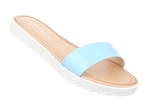 Damen Sandalen Schuhe Strandschuhe Sommerschuhe Pantoletten Hellblau
