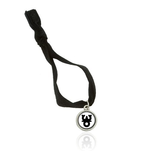 Buddhist Triratna Symbol Bracelet Double Fold Over Stretchy Elastic No Crease Hair Tie With Charm
