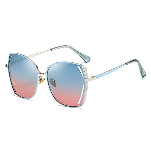 ZRTYJ Sonnenbrillen Zukünftige Kupfer Übergroße Schmetterling Metall Sonnenbrille Frauen Polarisierte Spiegel Brillen Damen Trendige Sonnenbrille