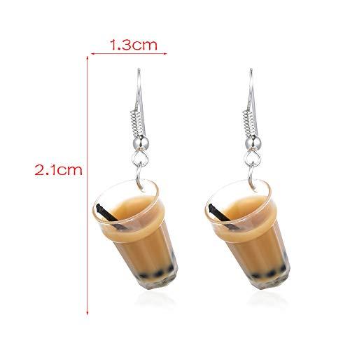 Verbesserung Der Milch (Kreative Perle Milch Tee Anhänger Damen einfache Ohrringe Schmuck)