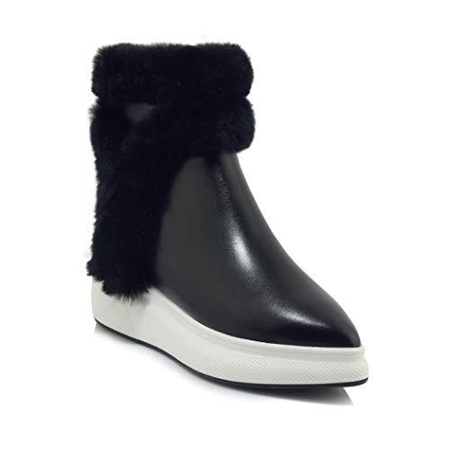 CBDGD Damen Schneeschuhe Baumwolle Schuhe Winter Plus Samt koreanische Plattform dicken unteren Kaninchen Fell Stiefel Damen Lederstiefel (schwarz und weiß) High Heels (Color : Black, Size : 35 EU)