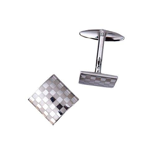PANYTOW Mens Silver Square Checkerboard Cufflinks