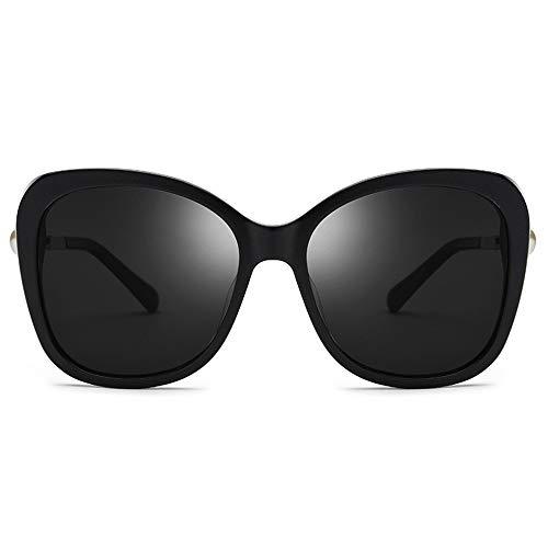 Doxtecret Hochwertige Sonnenbrillen Modische Sonnenbrille Katzenauge-Form Große Rahmenform Ultraleichte, langlebige Brille Qualitätssicherung Niemals Enden (Farbe : Schwarz, Größe : Free)