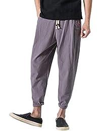 Fami Pantaloni di Lino Uomo Baggy Casual Pantalone Pantaloni Harem a Nove  in Cotone e Lanterna 2a537689f179