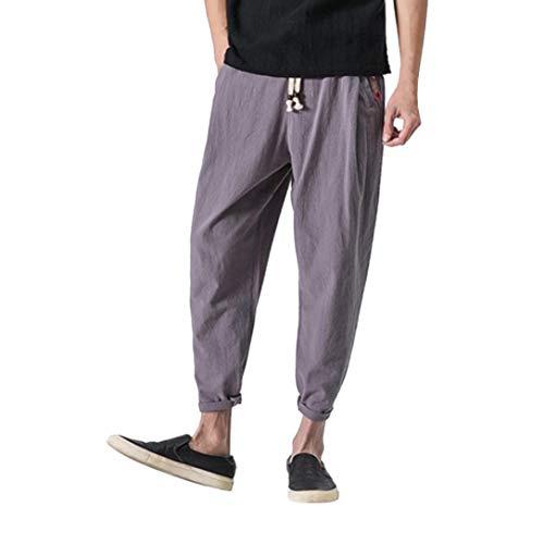 Fami pantaloni di lino uomo baggy casual pantalone pantaloni harem a nove in cotone e lanterna lino taglie forti eleganti leggeri corti vita alta