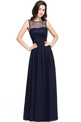 MisShow Damen Rund-Ausschnitt Abendkleid Abschlussballkleid Chiffon Festkleider Navyblau Gr.32