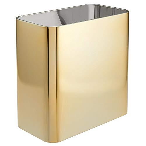 MDesign Papelera de oficina rectangular - Papelera metálica compacta y espaciosa para baño, cocina...