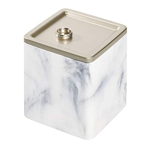 anister with Tray Lid for Cosmetics and Makeup Storage, Bathroom, Countertop, Desk, and Vanity, White Marble ()