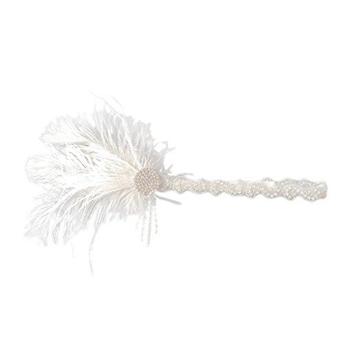 Baoblaze Damen der 1920er Jahre Vintage Paillette Flappers Stirnband Strass Verziert Haarband Haarschmuck Fascinator Fancy Dress - Weiß Feder (1920er Jahren Flapper Frisuren)