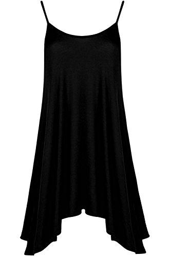 Be Jealous Damen Unterhemd Cami ausgestellt Skater Riemchen lang Swing Minikleid ärmelloses Top UK Übergröße 8-22 Schwarz