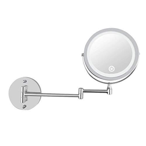 LULUDP Badspiegel Wand- Make-up-Spiegel LED-Badezimmer 7 Zoll-Make-up-Spiegel mit Licht Folding Doppel Wandbehang USB-Lade Touch-Dimming-Verfassungs-Spiegel 5-fache Vergrößerung