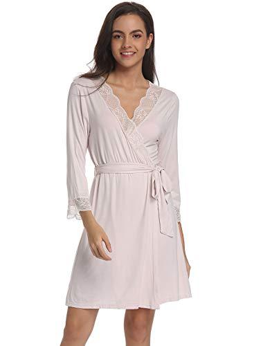 Ritera Mujeres Kimono con Cinturón Batas Algodón Ligero Bata Corta Tejido Albornoz Ropa de Dormir...