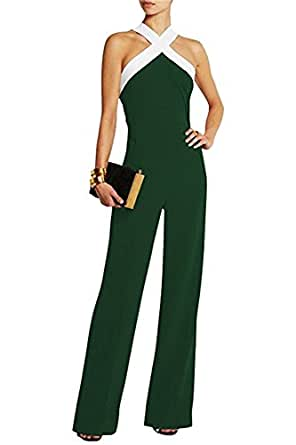 damen schwarz festlich elegant rot jumpsuit g rtel rmellos breit bein overall catsuit clubwear. Black Bedroom Furniture Sets. Home Design Ideas