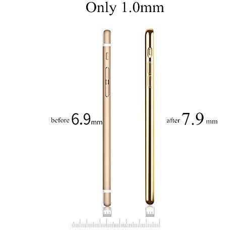 iPhone 7Plus case, trasparente morbido silicone posteriore 1.0mm di spessore con oro rosa telaio custodia protettiva per iPhone 7plus-fansong Rose dOro