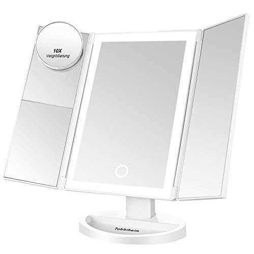 Tobbiheim LED Kosmetikspiegel Dimmbar mit 10x / 3X / 2X / 1x Vergrößerung, Schminkspiegel LED...