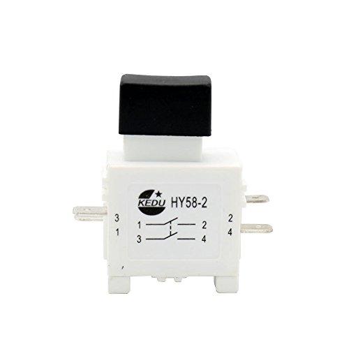 KEDU HY58-2 Trigger-Schalter, 250V 12A Elektrowerkzeug-Druckschalter mit Bremsfunktion Kein Schloss 2-Pack