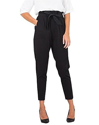 Crayon Pantalon Femme Slim Casual Pantalon de Taille haute avec Cordon (S, Noir)
