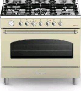 Bompani BO 684 AA/N creme / Range Cooker / Home Restaurant /- Gas Kochfeld mit 5 Brennern inkl. WOK Brenner / Multifunktions-Backofen mit 7 Funktionen / 90 cm breit