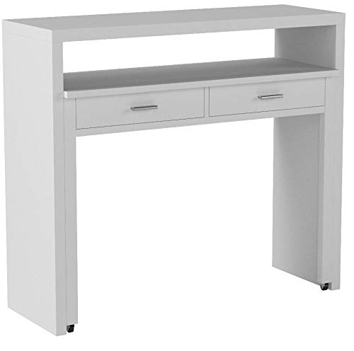 Home Innovation - Bureau Informatique Console Extensible, Table dŽappoint de Studio pour Ordinateur, 2 tiroirs, Blanc Brillant, Dimensions : 98,6x86,9x36-70 cm de Profondeur