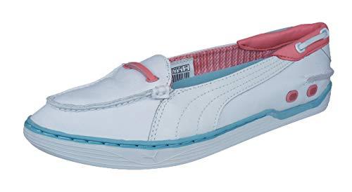 Puma Decker Slip On Damen Leder Bootsschuhe -White-41