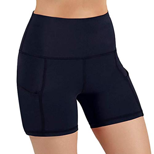 Amfirst Damen Fitness Damen Shorts Kurze Yogahose Schnell trocknende Trainieren Sporthose mit Taschen Hohe Frauen hohe Taille Yoga Tasche Kurze Bauch Kontrolle Training Laufen Yoga Hosen -