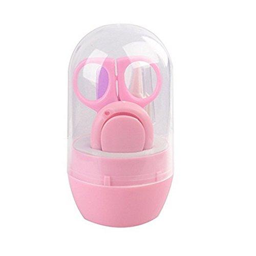 VWH Babypflege Set,4 Stück Gesundheits und Pflegeartikel mit Nail Clipper,Nagelfeile, Schere Baby Alltag Pflege (rosa)