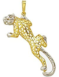 Leopard Skin Gold Pendant 585Yellow and White Gold Necklace Pendant Animal Jewellery 3675