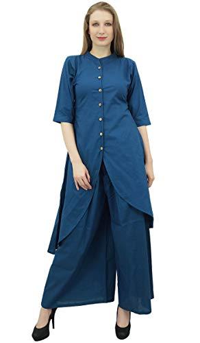 Phagun indische Kleidung Solide Teal Blau Asymmetrische Kurta Kurti Mit Palazzo Pant-36