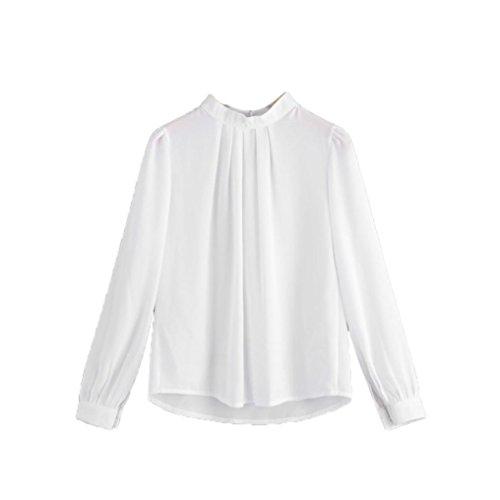 Homebaby camicia donna elegante chiffon solido felpe donna maglietta maniche lunghe donna manica lunga felpa pullover top camicetta casual (s, bianco)