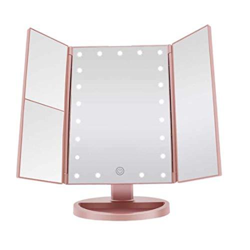 YXF Lupa 10 Veces con lámpara, Espejo Plegable de Tres Lados, Espejo de Maquillaje LED, Oro Rosa, tamaño...