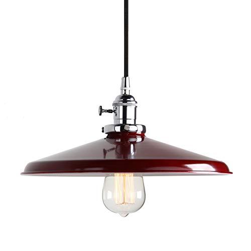 Pathson Industrie Loft-Pendelleuchte Antik Deko Design Deckel Metall Schirm innen Pendelleuchte Hängeleuchte Vintage Hängelampen Hängeleuchte Pendelleuchten (Rot) -