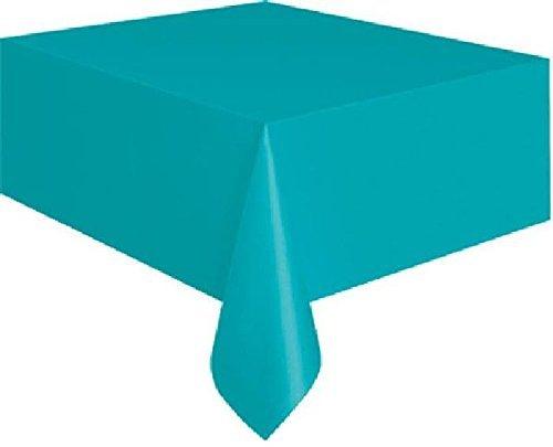 Cotillon d'alsace - Nappe bleue turquoise plastique rectangulaire 135x270 cm