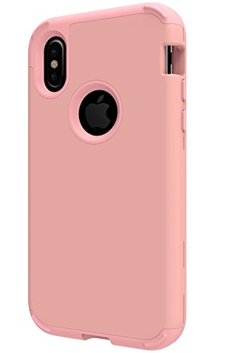 SAVYOU iPhone X Fall Dual Layer Defense High Impact, Hard PC Soft Silikon Hybrid Schutz Cover Case Für iPhone X Rose Gold Layer-hybrid Fall