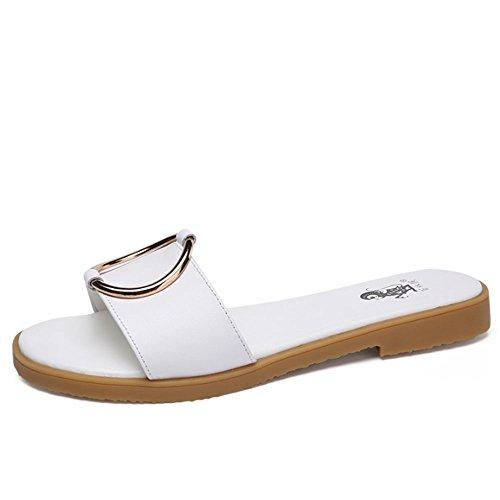 Pantofole piane estive Pantofole floppy di cuoio Sandali sottili casuali esterni del pantofole femminili (2 colori opzionali) (formato opzionale) ( Colore : A , dimensioni : EU38/UK5.5/CN38 ) A